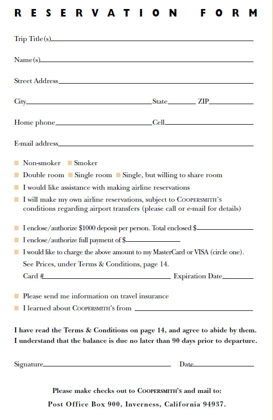 Reservation Form Picture Ptg Reservation Form Reservation Form